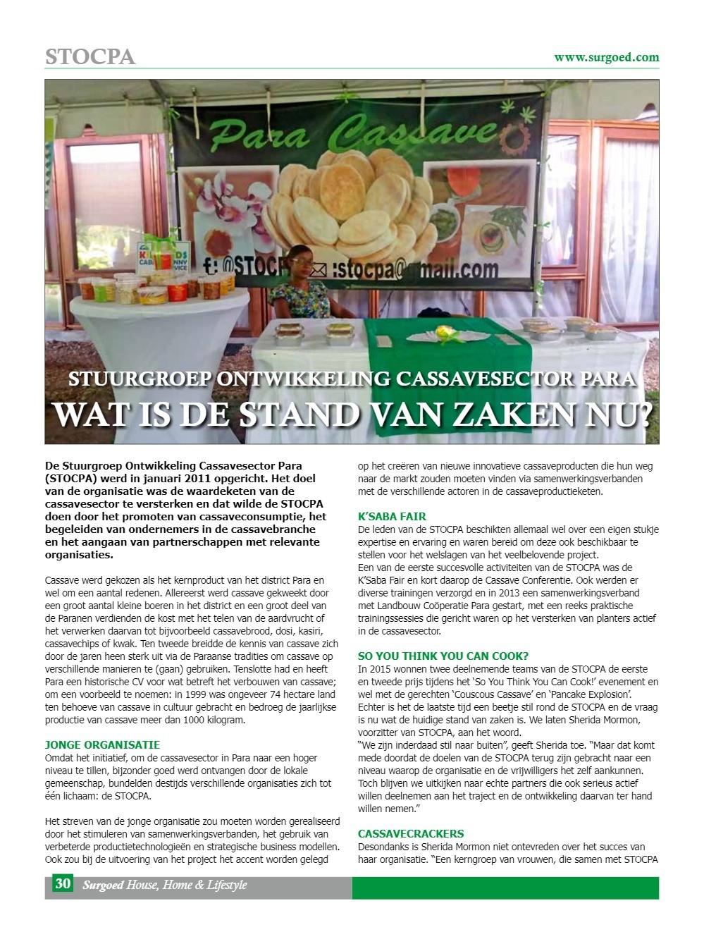 Stuurgroep ontwikkeling cassavesector Para - Wat is de stand van zaken nu?