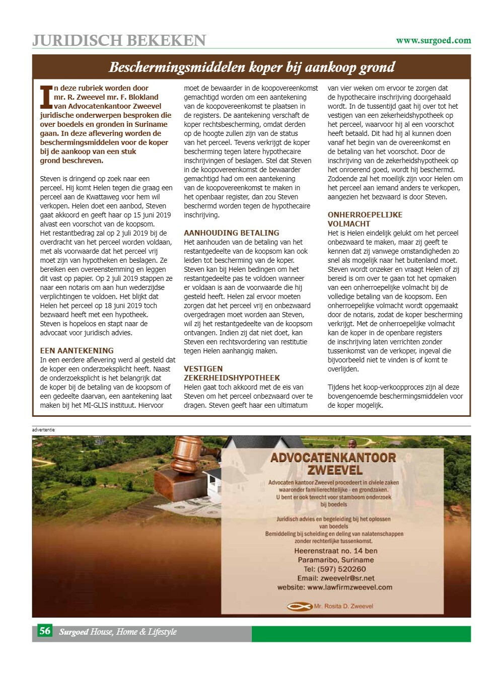 Beschermingsmiddelen koper bij aankoop grond