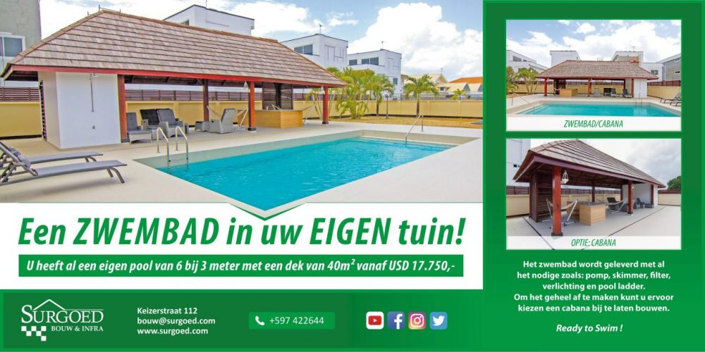 Zwembad bouwen in Suriname - Surgoed Bouw & Infra Advertentie